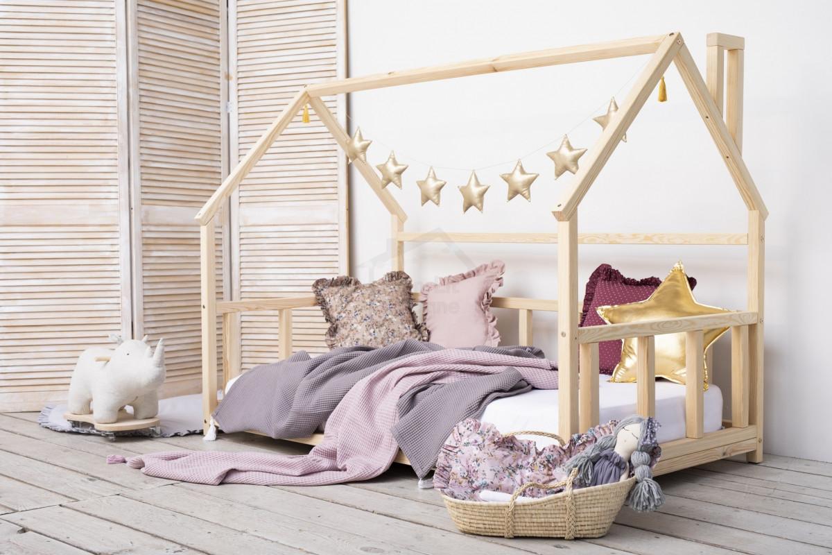lit cabane wh 90x160cm au sol monlitcabane. Black Bedroom Furniture Sets. Home Design Ideas