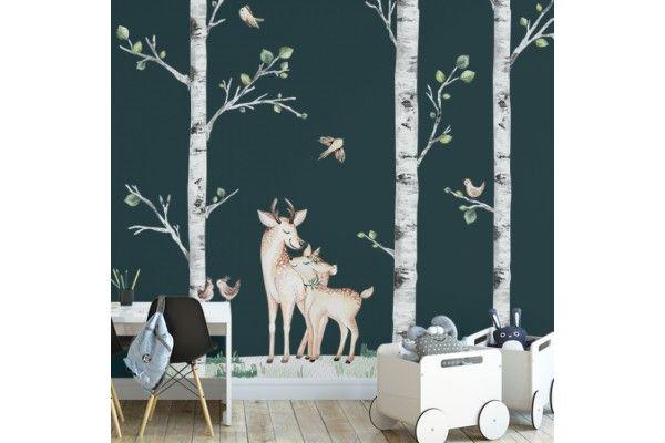 complet arbres, couple de cerfs et birds