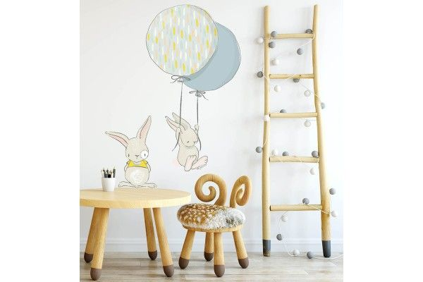 lapins avec ballons jaune