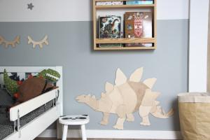 Décoration murale origami dinosaure stégosaure