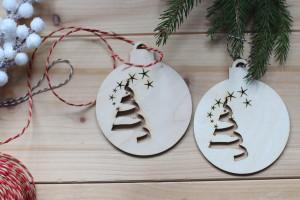 Boule de Noel en Bois - Sapin de Noel