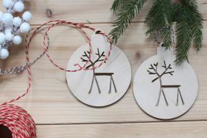 Boule de Noel en Bois - Renne meigre