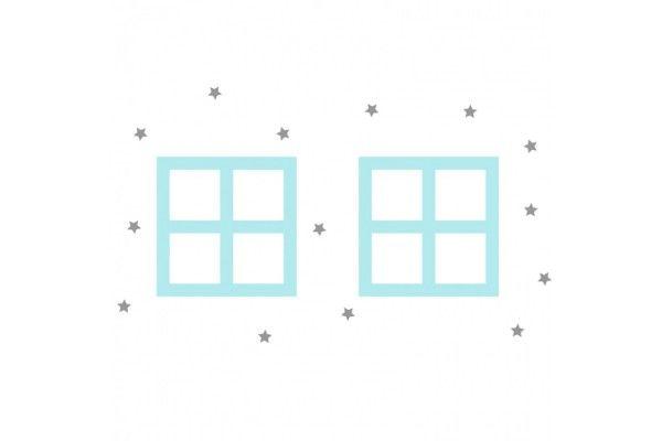 fenêtres roses et bleues