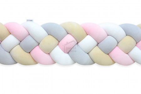Bed Bumper 4 ropes - Almond, Light pink and white