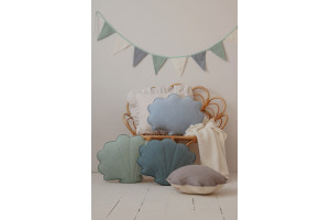 Coussin Coquillage en Lin Baby Blue