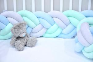 Tour de lit tressé menth, blue, gris