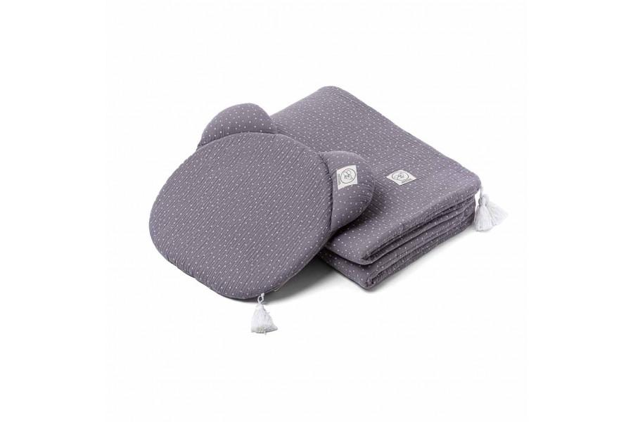Grey Polka Dot Muslin Set