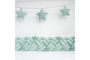 Tour de lit Tressé Slim Vert d eau