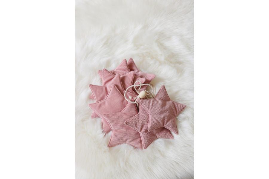 Guirlande Étoiles en Velours Rose Poudre