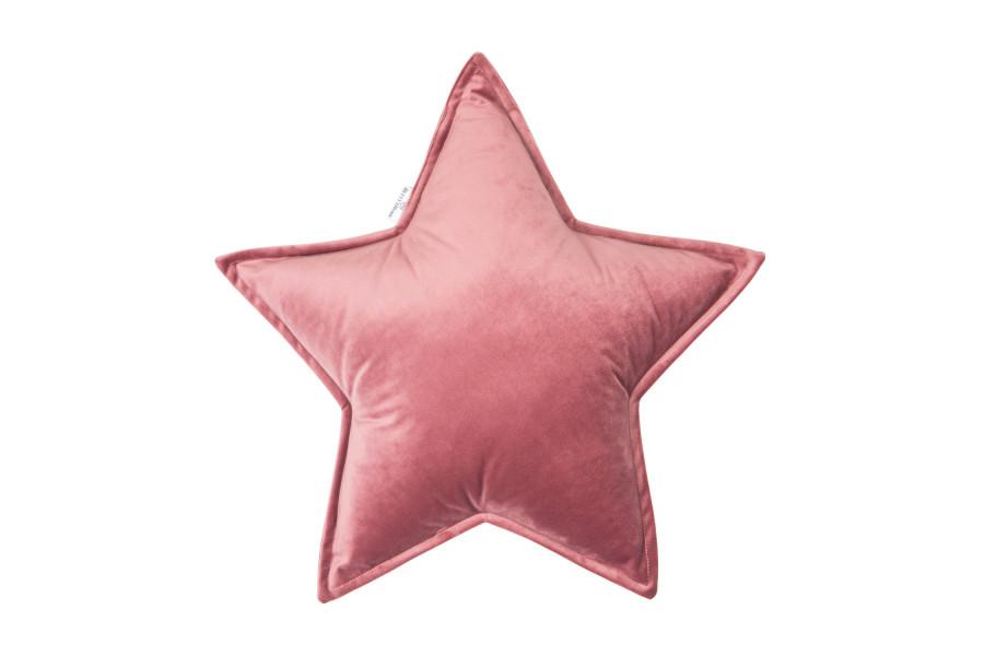 Cojín Estrella de Terciopelo Rosa Viejo