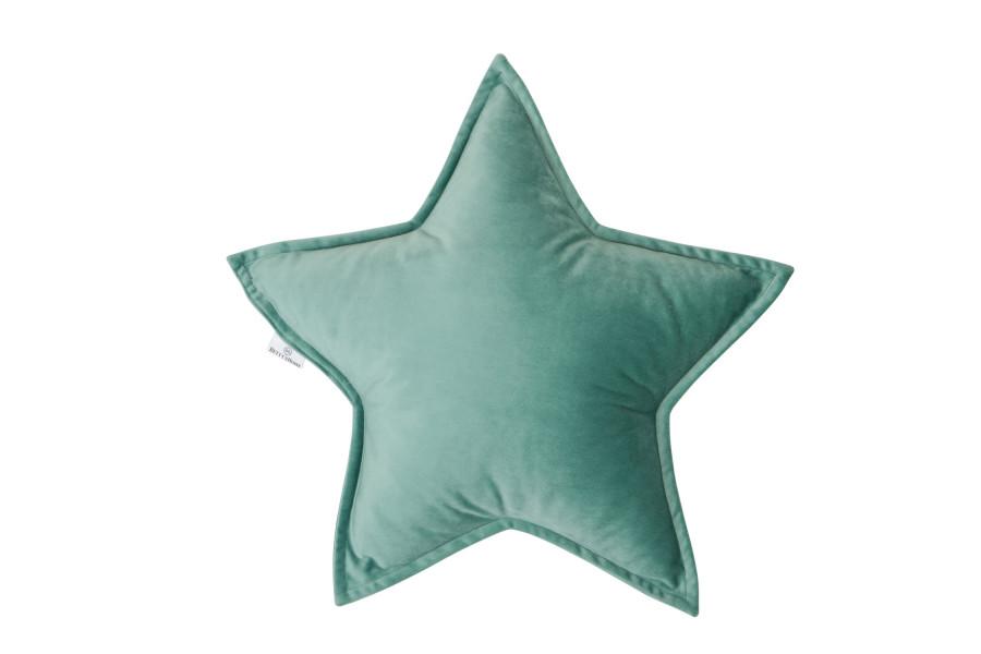 Cojín Estrella de Terciopelo Menta