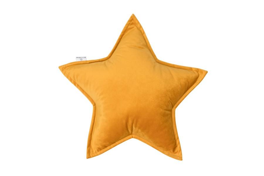 Cojín Estrella de Terciopelo Amarillo