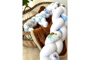Light Grey and Blue Bed Bumper - 3 Ropes
