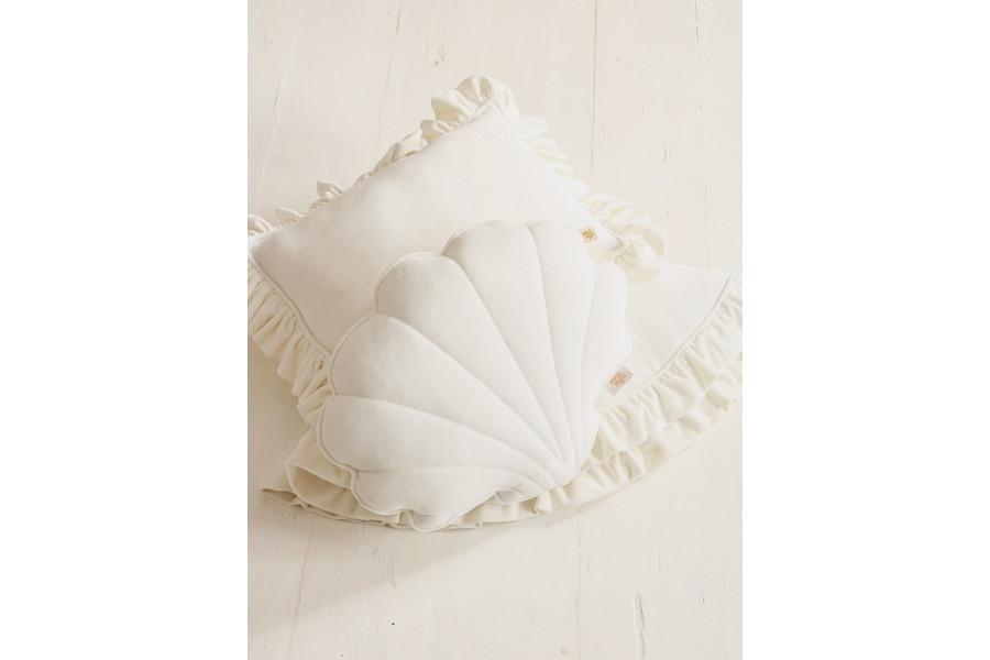 White Shell Soft Velour Cushion