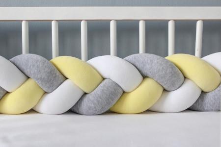 Protector cama Gris Amarillo y Blanco