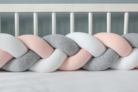 Protector cama Gris Salmon y Blanco