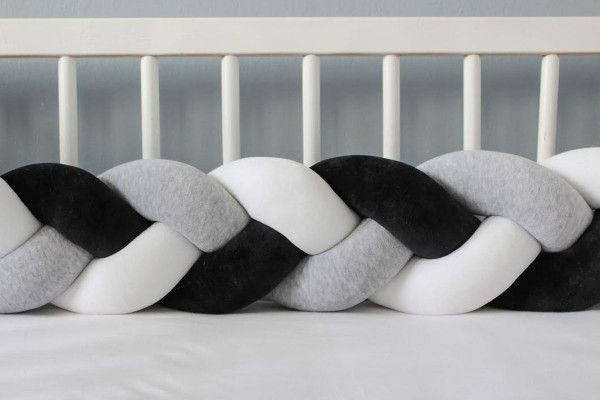 Grey Black and White Bed Bumper