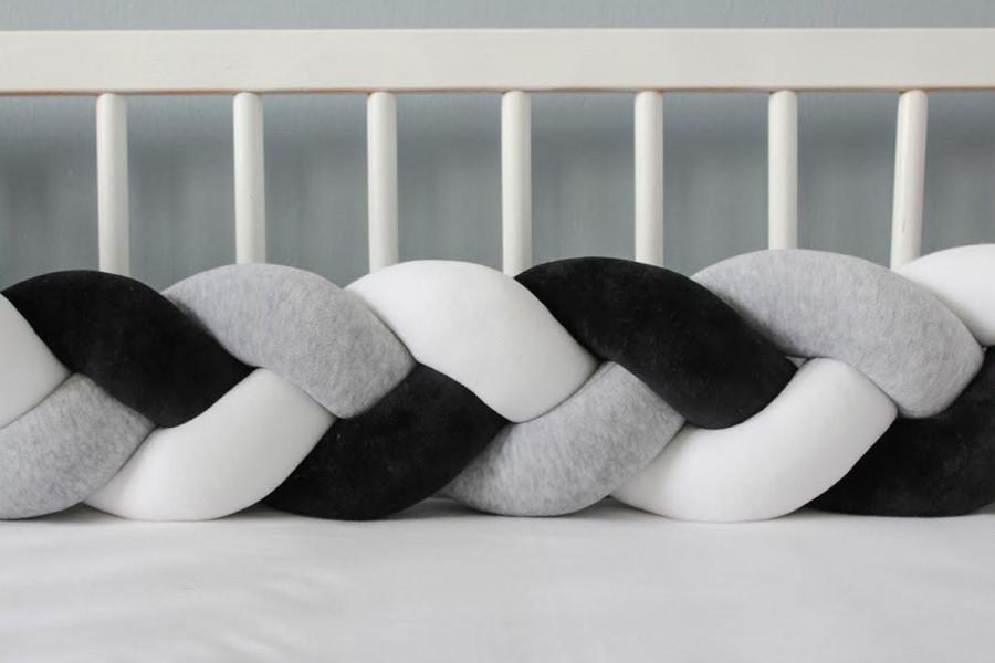 Tour de lit tressé Gris Noir et Blanc