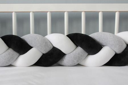 Paracolpi intrecciato Bianco, grigio e nero