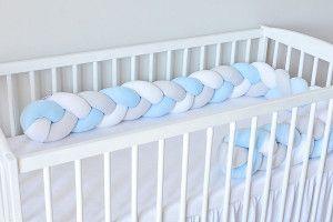 Tour de lit tressé Gris Bleu Clair et Blanc