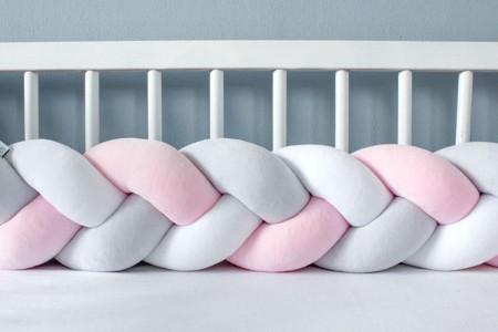 Protector cama Gris, Rosa claro y Blanco