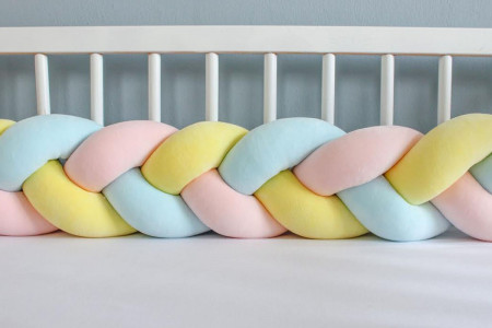 Yellow Blue and Light Pink Bed Bumper